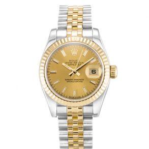 Rolex Datejust 179173 Damen 26mm Gold Automatik Edelstahl Uhr