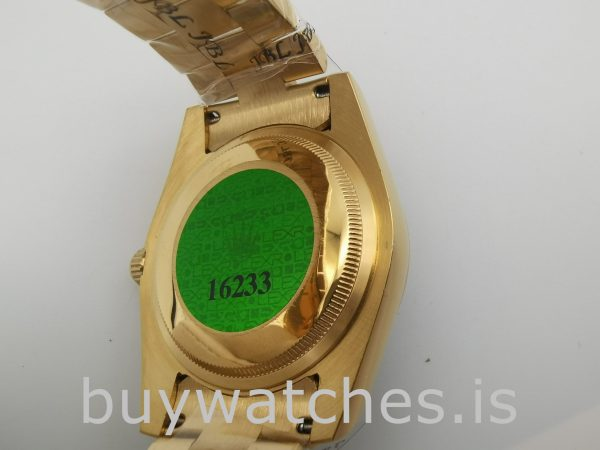 Rolex Day-Date 18238 Gelbgold Herren 36mm Automatik Silber Zifferblatt Uhr