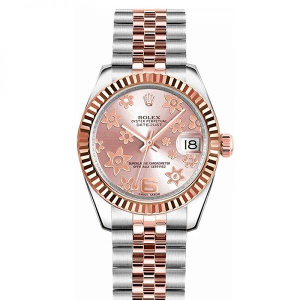 Rolex Datejust 178271 Unisex 31mm Pink Floral Dial Automatikuhr