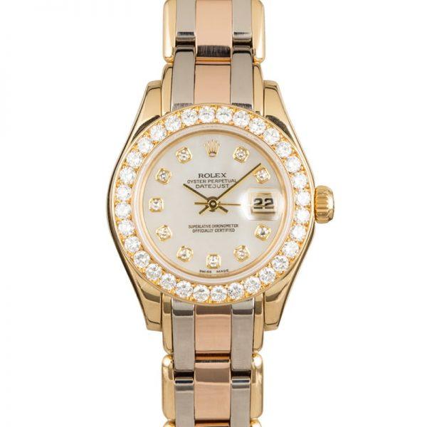 Rolex Datejust 80299 Damen 18 Karat Gold Automatik 29mm Weiß Zifferblatt Uhr
