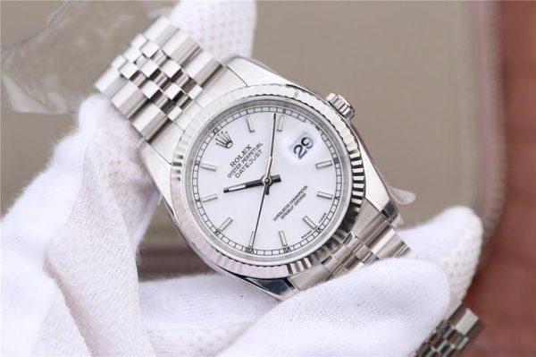 Rolex Datejust 116234 Replica Damenuhr mit weißem Zifferblatt 36 mm